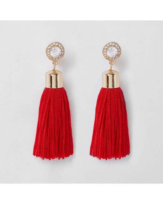 River Island - Red Tassel Drop Earrings - Lyst