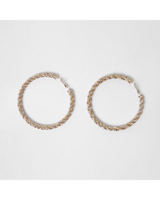 River Island - Metallic Gold Tone Sparkle Rope Hoop Earrings Gold Tone Sparkle Rope Hoop Earrings - Lyst