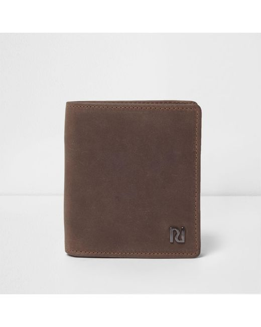 River Island - Dark Brown Oil Coated Leather Wallet for Men - Lyst