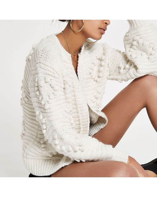 River Island - Natural Bobble Cardigan In Cream - Lyst