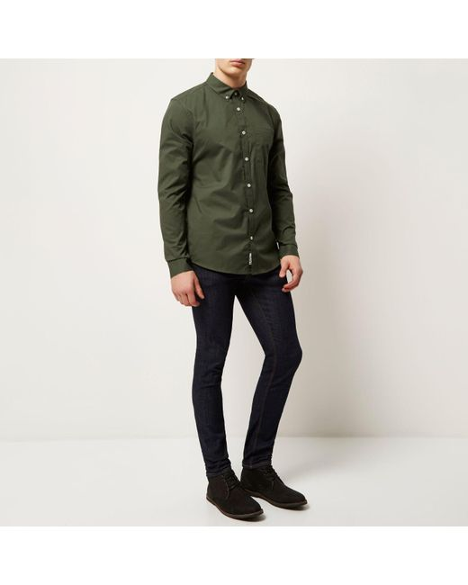 Mens Olive Green Button Down Shirt | Artee Shirt