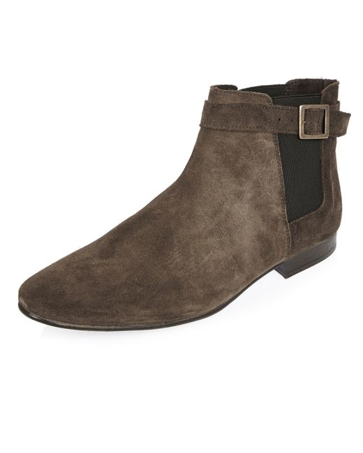river island brown suede chelsea boots in brown lyst