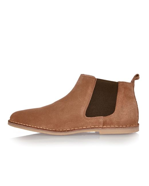 river island medium brown chelsea boots in brown for
