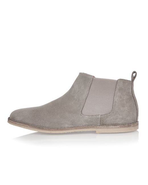 river island grey suede chelsea boots in gray grey
