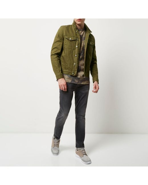 River island Dark Green Denim Jacket in Green for Men | Lyst
