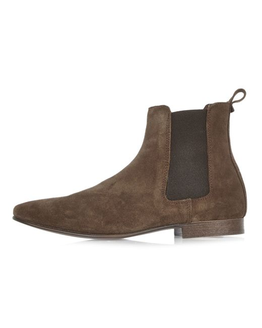 river island brown suede chelsea boots in brown for lyst