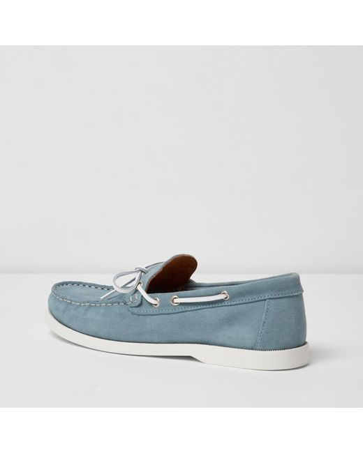 River Island Light Blue Suede Boat Shoes In Blue For Men