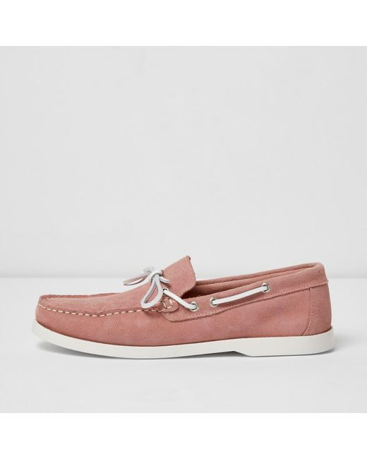 river island pink suede boat shoes in pink for lyst