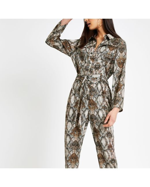 7db6463350a River Island - Brown Snake Print Jumpsuit - Lyst ...