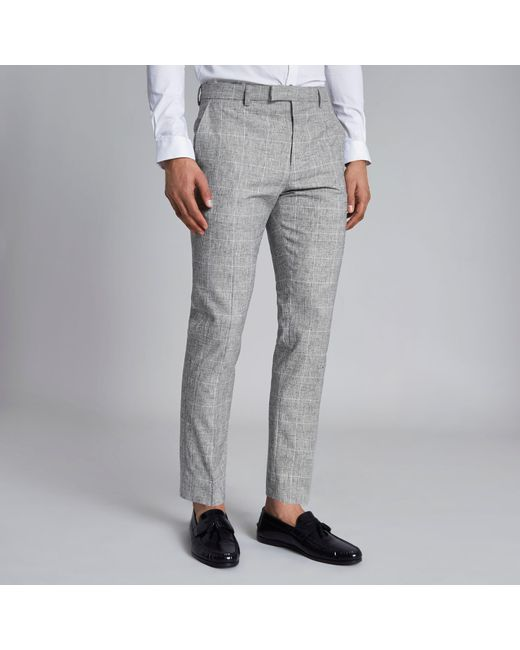 River Island - Gray Light Grey Check Skinny Fit Suit Pants for Men - Lyst