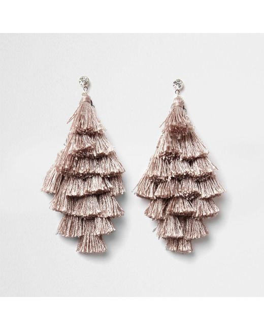 River Island   Natural Nude Tassel Drop Earrings Nude Tassel Drop Earrings   Lyst