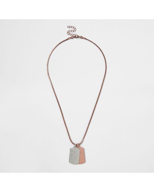 River Island | Metallic Rose Gold Tone Dog Tag Necklace | Lyst