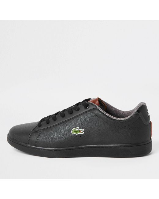60808691ae83ea Lacoste - Black Leather Court Lace-up Trainers for Men - Lyst ...