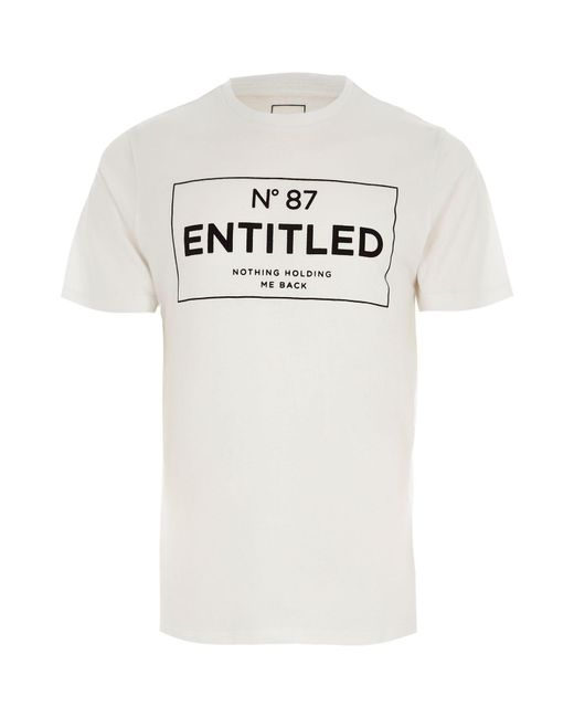 River Island | White 'entitled' Flock Print Slim Fit T-shirt for Men | Lyst