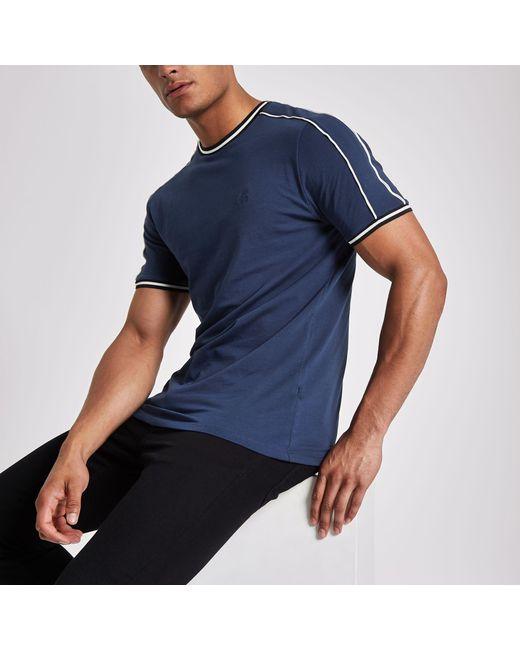 d74e1b47089e River Island - Blue Crew Neck Piped T-shirt for Men - Lyst ...