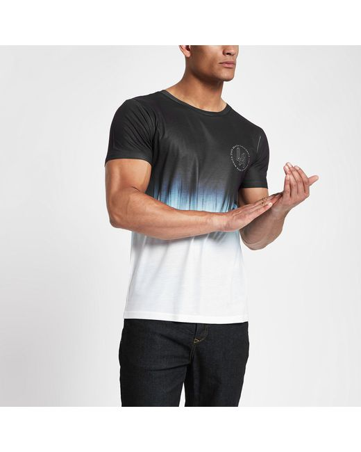 River Island - White Fade Print Slim Fit T-shirt for Men - Lyst