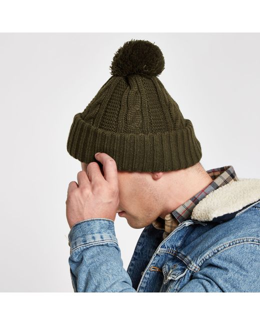 6b30cc00 ... River Island - Multicolor Knit Bobble Beanie Hat for Men - Lyst