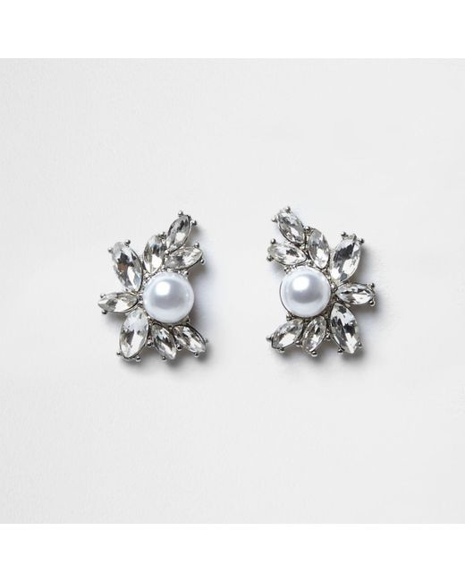 River Island | Metallic Silver Tone Jewel Pearl Cluster Stud Earrings | Lyst
