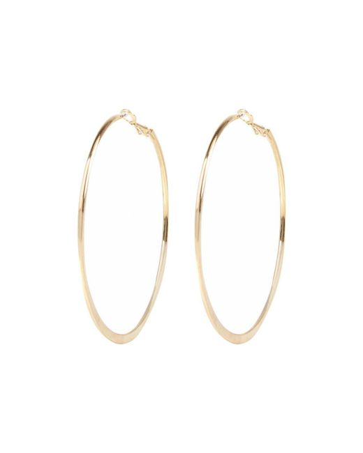 River Island | Metallic Gold Tone Medium Flat Bottom Hoop Earrings | Lyst