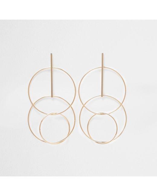 River Island - Metallic Tone Interlink Circle Drop Earrings - Lyst