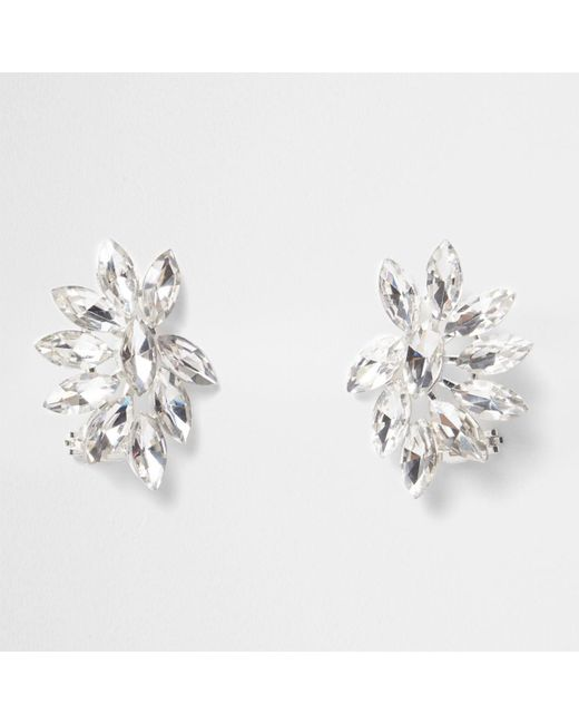 River Island | Metallic Silver Tone Diamante Ear Cuffs Silver Tone Diamante Ear Cuffs | Lyst