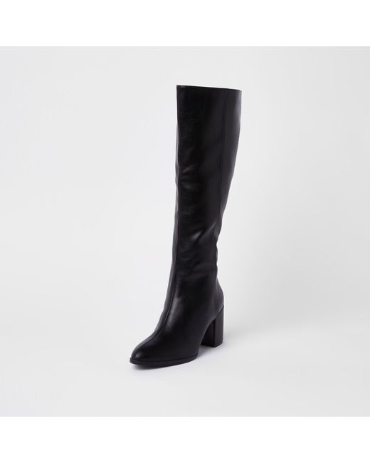 dd648995b4e ... River Island - Black Faux Leather Knee High Boots - Lyst