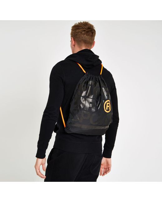 ... River Island - Superdry Black Embroidery Drawstring Bag for Men - Lyst 4a70855214e3a