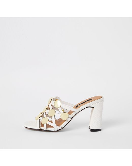 8cfcae087a89 River Island - White Circle Caged Block Heel Sandals - Lyst ...