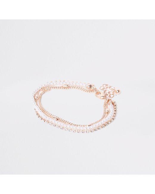 River Island - Metallic Rose Gold Pearl And Rhinestone Bracelet - Lyst