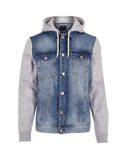 ASOS DESIGN oversized denim jacket with jersey hood in mid wash. $ Liquor N Poker denim jacket with monochrome stripe. $ boohooMAN denim jacket with man print in blue wash. $ Bershka denim jacket in black with fleece collar and lining. $ Bershka Denim Jacket In Blue.
