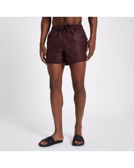 Mens Burgundy triangle embossed runner swim shorts River Island 2kUpIXtB