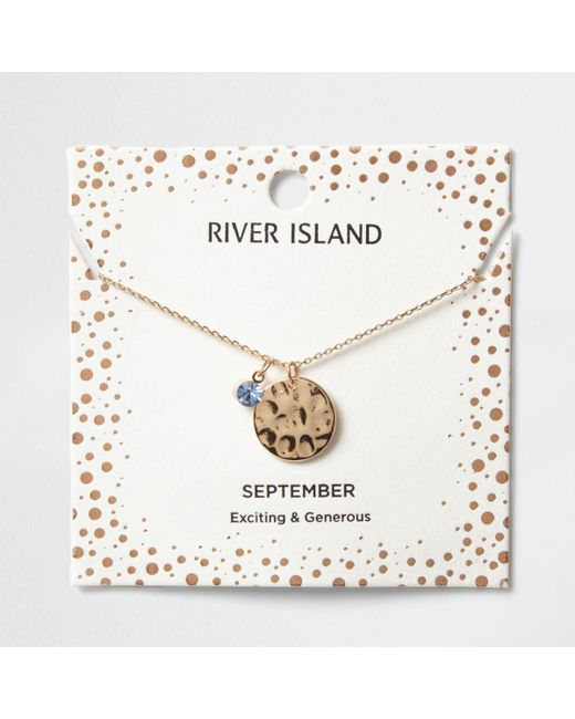 River Island | Light Blue Gem September Birthstone Necklace | Lyst