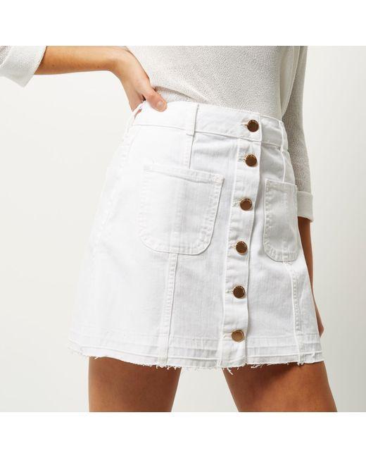 White Button Skirt Flared Button Down Skirt White Denim