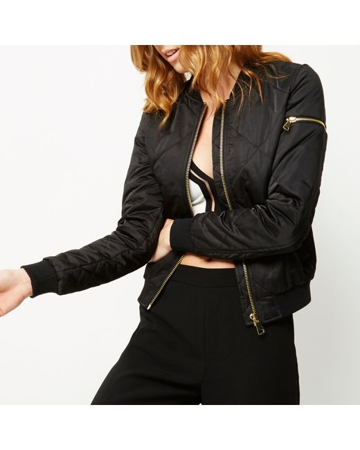River Island Black Quilted Bomber Jacket In Black Lyst