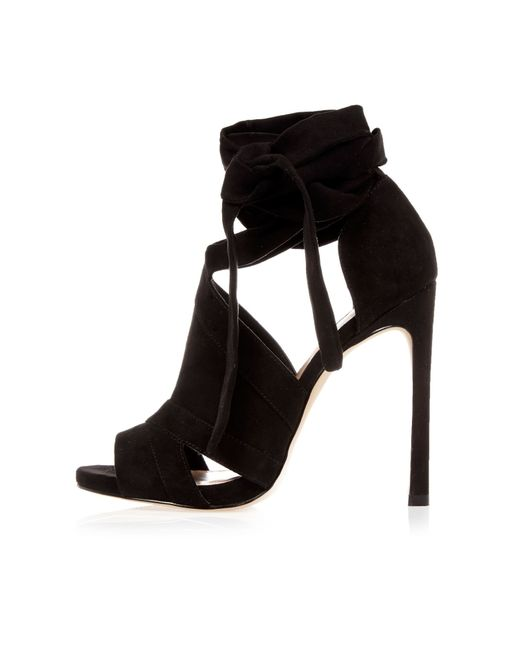 river island black cut out heel shoe boots in black lyst