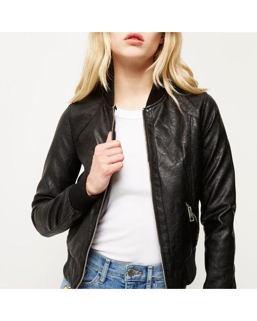 River Island Black Faux Fur Collar Jacket In Black Lyst