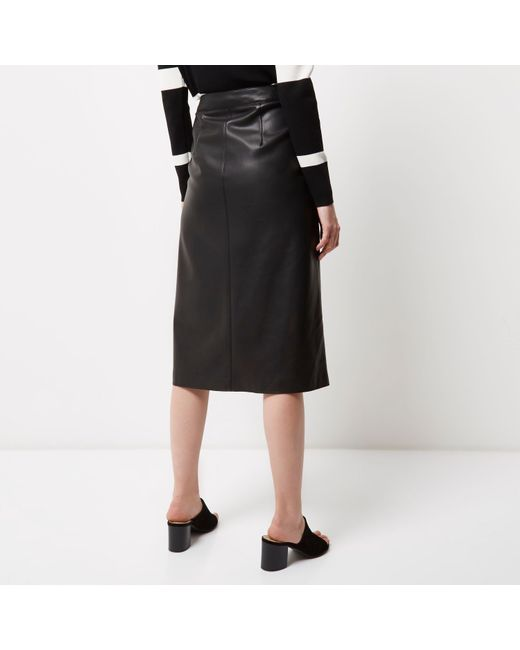 river island black leather look zip detail midi skirt in
