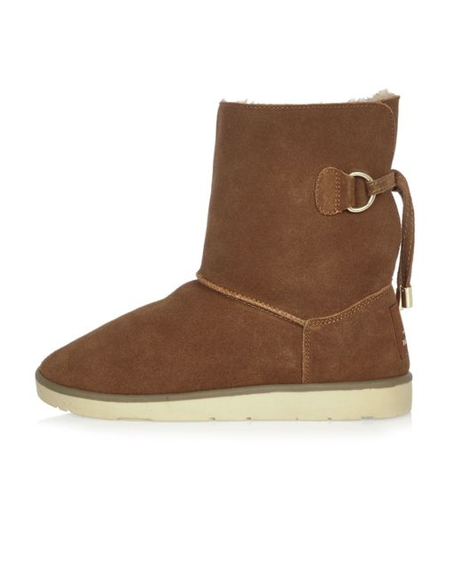 river island suede faux fur lined ankle boots in brown
