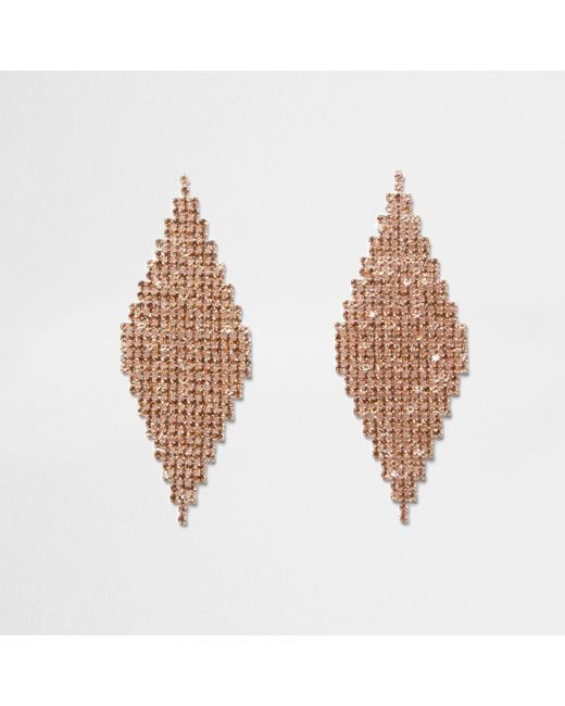 River Island   Orange Diamante Pave Diamond Earrings   Lyst