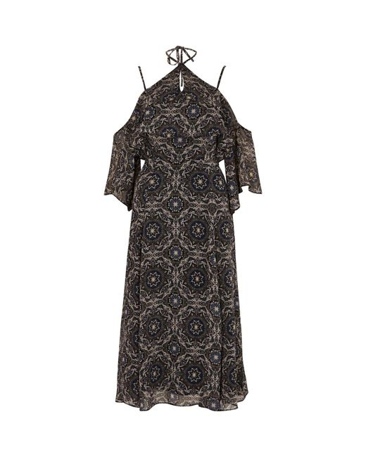 River Island | Purple Tile Print Cold Shoulder Midi Dress | Lyst