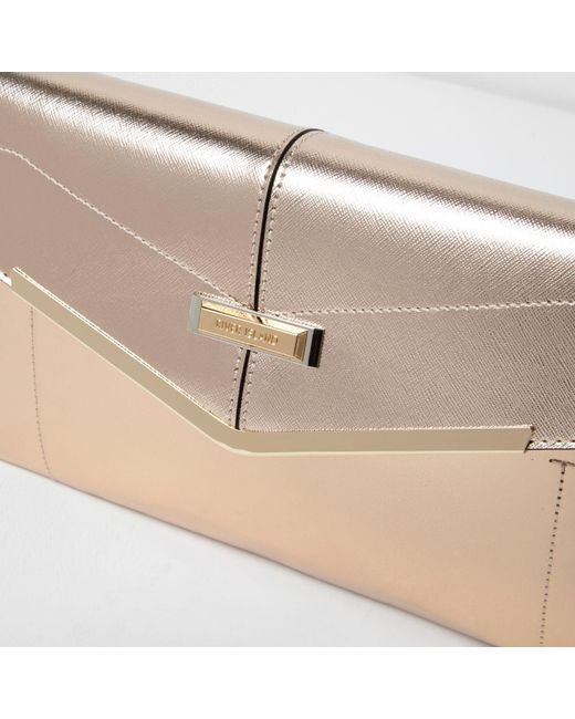 River Island Rose Gold Envelope Clutch Bag In Yellow Lyst