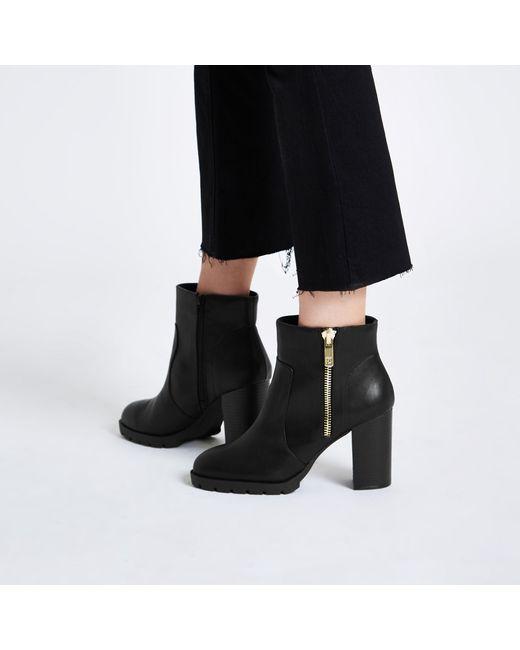 e23f887fdb0 ... River Island - Black Chunky Side Zip Block Heel Ankle Boots - Lyst