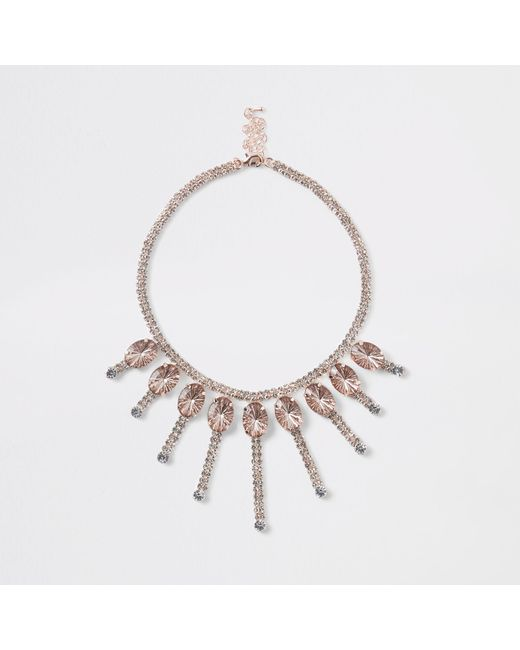 River Island - Metallic Rose Gold Jewel Embellished Necklace - Lyst