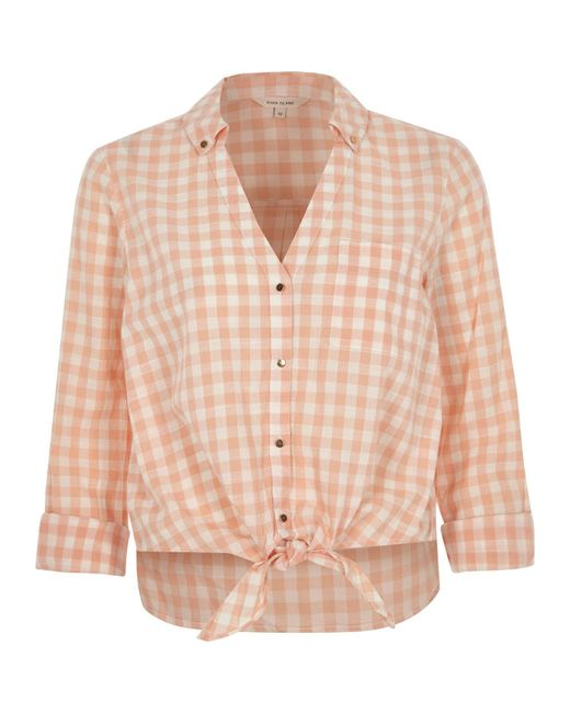 River Island Orange Gingham Print Tie Front Cropped Shirt