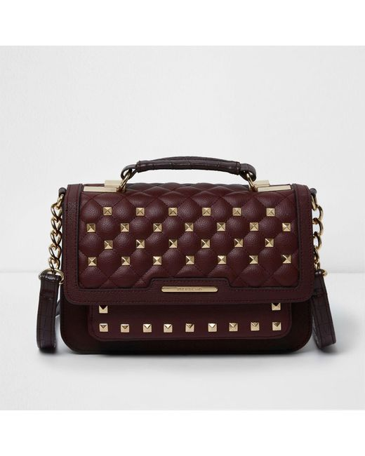 River island Dark Red Quilted Studded Mini Satchel Bag in Red | Lyst