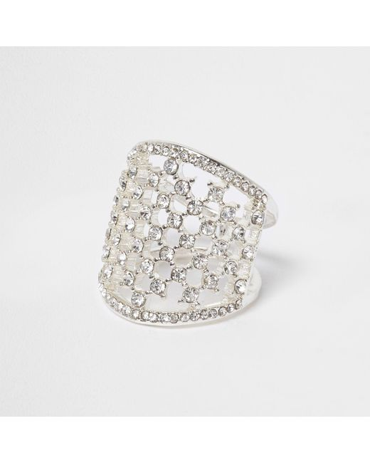 River Island | White And Silver Tone Diamante Cage Ring | Lyst