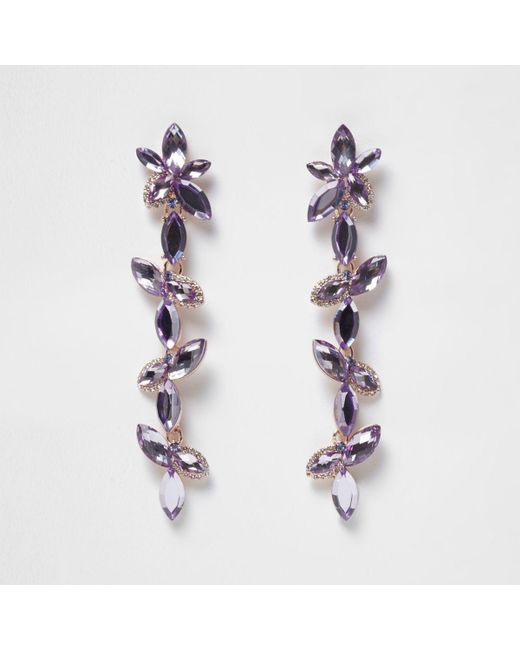 River Island | Purple Flower Drop Earrings | Lyst