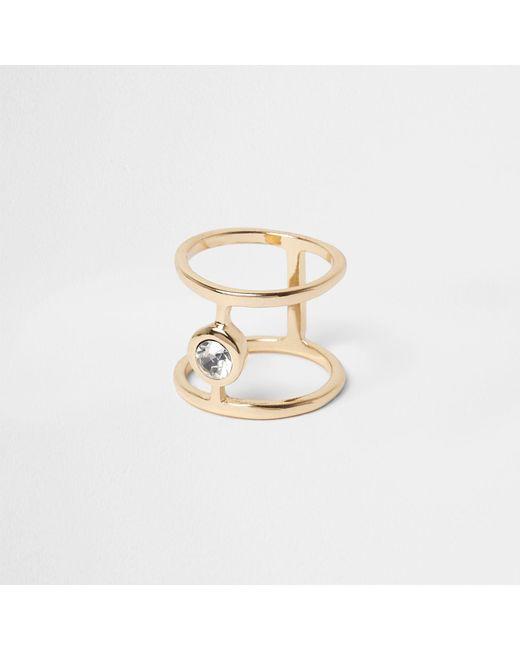River Island | Metallic Gold Tone Diamante Ring | Lyst
