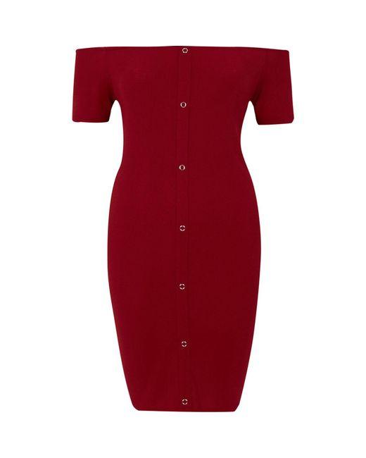 River Island | Dark Red Rib Popper Front Bardot Mini Dress | Lyst