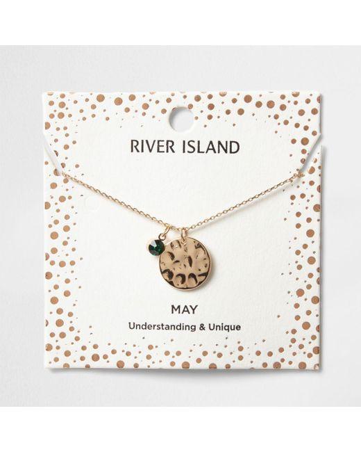 River Island | Green Gem May Birthstone Necklace | Lyst